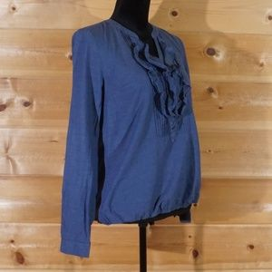 Blue Ruffled V Neck Pull Over LOFT Blouse Size XS